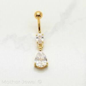 14K YELLOW GOLD TRIPLE PLATED TEAR DROP 316L SURGICAL STEEL NAVEL BELLY BAR RING