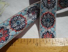 "Jacquard Embroidered Ribbon Trim Flower 3/4"" Pink aqua Blue White 6 yds boho"