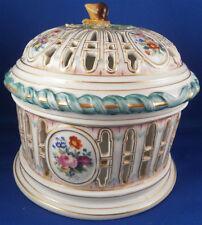 Rare 19thC Herend Porcelain Reticulated Chestnut Basket Porzellan Kastanien Korb