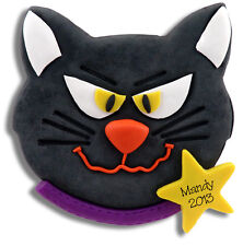 BLACK CAT Personalized HALLOWEEN Ornament Handmade POLYMER CLAY by Deb & Co.