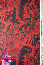 Alexander Henry Red After Dark Cotton Victorian Steampunk Skulls Goth Fabric