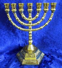 "12 Tribes of Israel Emblems Jewish 7 Branch Gold Temple Menorah 5"" inches Tall"