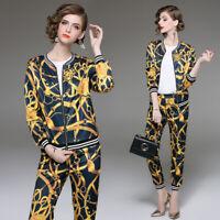 2019 Spring Summer Women Set Vintage Print Swearshirt Top Coat Jacket Pant Suits