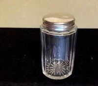 Antique Silver & Glass Dresser Jar. Blown Glass. Silver Snap On Top. 3 1/2