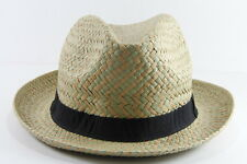 UNISEX GREEN/BROWN RETRO ADVENTURER STYLE PANAMA HAT WITH BLACK BAND (HT18)