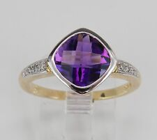 Diamond and Amethyst Bezel Engagement Ring Promise Ring Size 7 White Yellow Gold