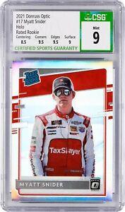 2021 Donruss Optic #17 Myatt Snider (CSG 9, Mint) Holo, Rated Rookie, NASCAR