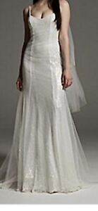 White By Vera Wang Wedding Sequin/Tulle Slip Overlay dress NWT Size 12
