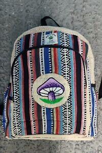 Hemp Bagpack colorful mushroom embroidered  Handmade organic sustainable bagpack