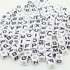 100 pcs6x6mm Acrylic Individual Alphabet Letter Cube Spacer Beads for Diy Crafts