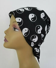 CHEMO Bandana SCARF BLACK WHITE Cancer Patient Cap Hat YING YANG FREE SHIPPING!!