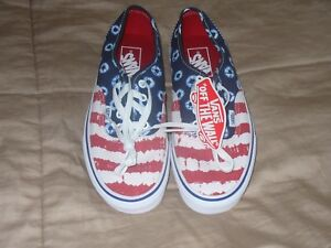 VANS Off the Wall White/ Blue/Red  Canvas 721454  Mens 6 Womens 7.5 Brand New