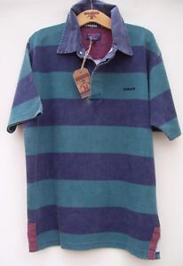 Edwards Heavies ED07 Short Sleeve Cotton Stripe Rugby - Washed Navy/Green - S/M