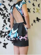 Fairground Black Carousel Horse Cut Out Back Dress Size Medium 8 10