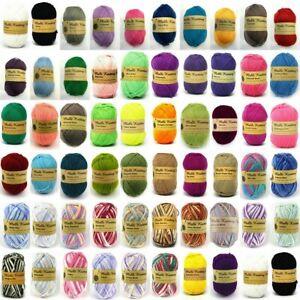 Knitting Yarn 5x100g 8ply Acrylic Knitting Wool Yarn Craft Solid Multi Colours