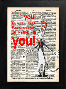 DICTIONARY PAGE ART VINTAGE STYLE PRINT DR SEUSS CAT IN THE HAT QUOTE.