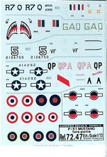 Carpena 1/72 Scale Decal Sets: 2 P-51 Mustang Sets #72.47 & #72.48 Mint WWII
