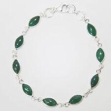 Jade Armband Silber 925 Handschmuck Sterlingsilber Tennisarmband Armkette Grün