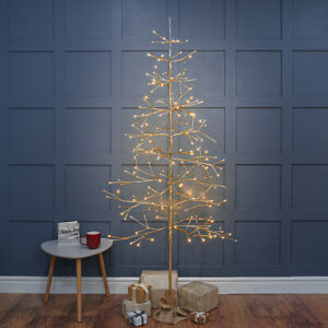 2ft-6ft Plug In LED Pre Lit Christmas Champagne Gold Twig Tree Table Decoration
