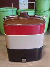 Gold Fish Brand Melamine Bento Tiffin Carrier Vintage Lunchbox 3 Red Black Tan