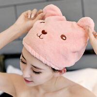 1/2Pcs Cute Microfiber Hair Quick Dry Towel Hat Bathing Head Wrap Turban Magic
