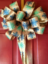 Glittered Gold Blue Snowflakes Christmas Ribbon Bow Tree Topper Bow Door Wreath