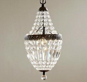 NEW Crystal Mini Chandelier Pendant Modern French Farmhouse Light Fixture