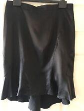 Roberto Cavalli designer mainline Black Silk Satin Skirt Size Large 12 BNWT
