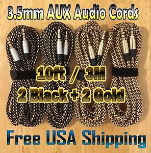 4x 10ft / 3M BLACK + GOLD Color 3.5mm BRAIDED AUXILIARY Audio Cable AUX Male 4Pc