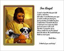 Black & White Shih Tzu Memorial w/Jesus/Poem Personalized w/Dog's Name