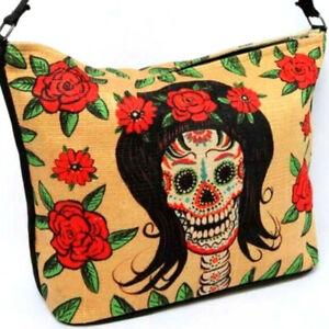 Sugar Skull Handbag Purse Day of the Dead Mexicana Catrina Lady Gothic Canvas
