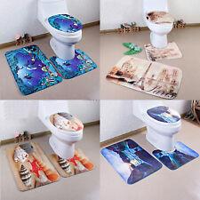 4 Types 3Pcs Set Bathroom Non-Slip Pedestal Rug + Lid Toilet Cover + Bath Mat UK