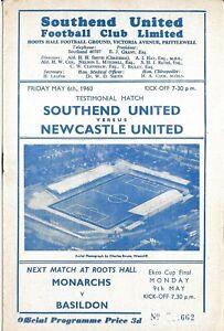 Football Programme>SOUTHEND UNITED v NEWCASTLE UNITED May 1960 Testimonial