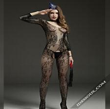 Netz Body ouvert Nylons Catsuit Schritt offen sexy Stocking Dessous  S M L 24€