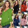 Women's Lace Crochet V-Neck Long Sleeve Shirt Casual Blouse Pullover Tops Shirt