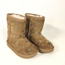 Ugg Brown Leather Toddler Ugg Boots Star Print Fleece Lined Toddler Size 9