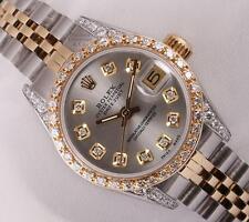 Rolex Lady Datejust 2 Tone-Diamond Lugs-Gray Diamond Dial-Diamond Bezel-26mm
