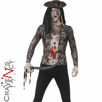 Adult Zombie Pirate T-Shirt Mens Halloween Horror Fancy Dress Costume Outfit New