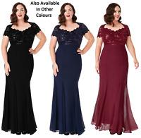 Goddiva Sequin Lace Chiffon Inserts Fishtail Evening Maxi Dress Prom Party Ball