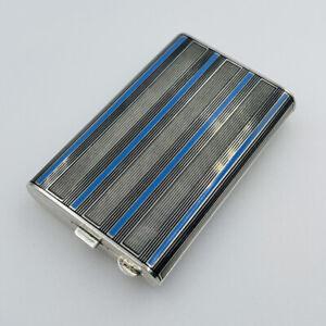 Antique 935 Sterling Silver Blue Enamel Cigarette Card Case