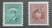 Canada 1942-43 King George VI War Issue Coil Stamps  # 263 1 cent, # 267 4 cent