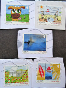 JERSEY#1910a-e used 2015 children's drawings set. SCV $7.00. Combined shipping