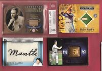 BABE RUTH BAT LOU GEHRIG GU BAT BGS 8 MICKEY MANTLE PATCH JOE DIMAGGIO RING CARD