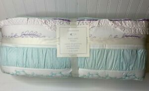 NEW Pottery Barn Kids BAILEY RUFFLE CRIB NURSERY BUMPER Aqua Pink Lavender White