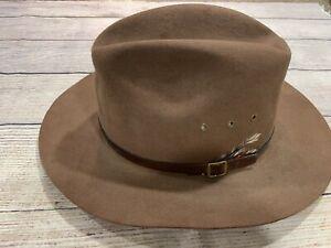Vintage Beaver Brand Brown Felt Lined Banded Hat Sz 7 3/8 Sundance Hat Colorado