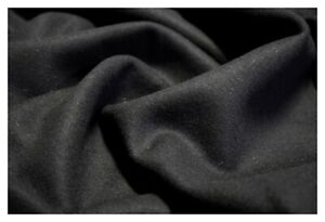 "Black Coat Jacket Weight Melton Wool 80/20 Poly Soft Apparel Fabric 60""W"