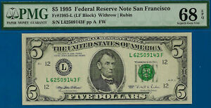 TOP POP 2/0 - 1995 $5 FRN (( Finest Known - LF Block )) PMG 68EPQ - L62509143F-