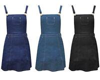 New WOMEN 80's Denim PINAFORE A Line SKATER Dungaree Bib DRESS 8-14 UK
