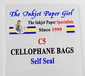 """25 x C5 Crystal Clear Cellophane Bags - 6½""""x8½""""+1¼"""" Self Seal"""