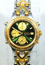 Seiko Chronograph Two-Tone Gold Stainless St Green Men's REPAIR Watch 7T32-6G20